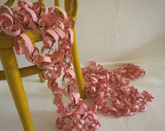 32ft / 10m long paper garland Pink Copper gold shiny curl decoration for party and wedding decorating