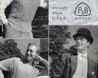For Larger Men Waistcoat Sweater Waistcoat Pullover Vintage 1950s Knitting Pattern pdf Instant Download