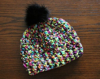 Women's Crochet Beanie With Faux Fur Pom, Winter Beanie, Beanie With Pom, Winter Hat With Fur Pom, Rainbow Beanie, Rainbow Crochet Hat