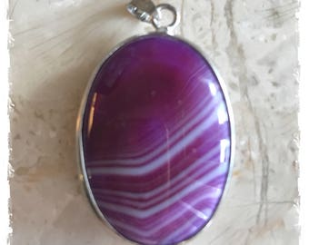 Purple Agate Cabochon Pendant