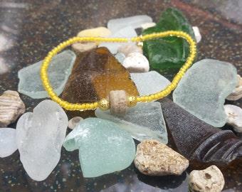 Lake Michigan Crinoid Beaded Stretch Bracelet