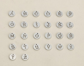 26pcs stainless steel letter charm, cutout letter disc charm, initial disc pendant, initial charm, 12MM