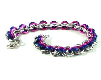 Chainmaille Jewellery, Mobius stripes bracelet, pink, purple, blue