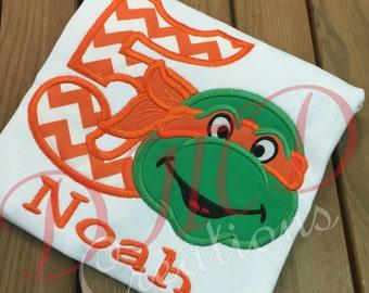 Ninja Turtle Birthday Applique Shirt