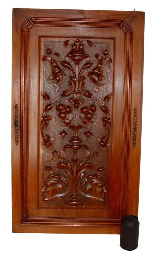 French Antique Neoclassical Large Carved Salvaged Wood Door Panel    Classical Men Carving   Cupboard Door   Architectural Wood Salvage Door  From ...