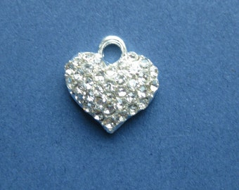 4 Rhinestone Heart Charms - Rhinestone Heart Pendants - Heart Charm - Heart Pendant - Love - Silver Tone - 13mm x 13mm -- (No.74-10122)