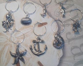 Beach Babe Wine Glass Charms, set of 8 ~ Nautical Wine Charms ~ Beach Themed Wine Charms