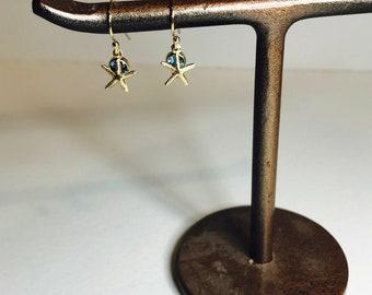 Gold Starfish and Aqua Cubic Zirconia gemstone , 14k GF tiny starfish, Aqua, tiny earrings