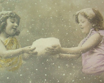 Sweet Vintage Hand Tinted RPPC (2 Angels)
