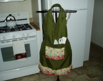 Handmade Avacado Green Men's Shirt Bib Apron with Roses