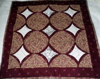 TABLETOPPER BURGUNDY & WHITE  -Hand Made n Quilted - Heat Resistant - Burgundy - Lace Accents - Cathedral Window Style Pattern