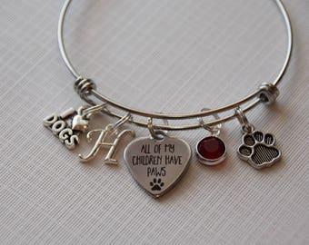 All my children have paws Bracelet, dog lover gift, gift for dog lover, pet owner gift, fur mom gift, pet bracelet, gift for pet lover