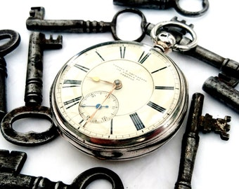 Excellent large silver 19thC Liverpool fusee pocket watch via Carter & Lackerbane, Preston