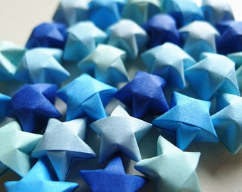 Origami Lucky Stars - Blue Mixed Wishing Stars/Embellishment/Gift Enclosure/Home Decor
