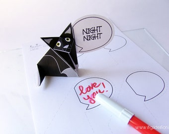 Talking paper cat, thank you card, customizable speech bubble. origami, paper cat, black cat, digital file instant download