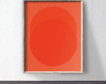 Circle Art, Red Poster download, Downloadable print, Orange printable, Red wall decor, Abstract poster, Orange wall art, Minimalist, Digital