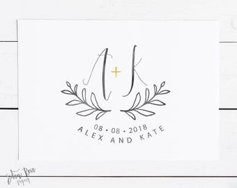Wedding Logo Wedding Monogram Wedding Initials Wedding Design Premade Logo Watercolor Wedding Logo Save the Date Wedding Logo Design