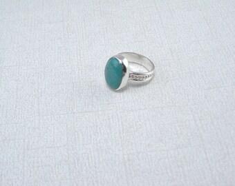 Turquoise Ring Silver Ring Large Stone Ring Artisan Ring Sterling Silver Art Band Ring Green Blue Ring Turquoise Stone Ring Green Turquoise