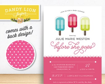 About to Pop Pink Popsicle Baby Shower Digital Invitation - DIY Printable