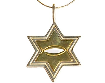 Sterling silver Star of David & Icthus with a solid 14kt gold insert - psg017