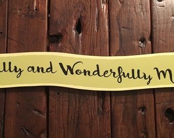 Fearfully and Wonderfully Made sign/hand painted sign/green sign/glittered/scripture sign/banner/nursery sign/children's sign/Christian art