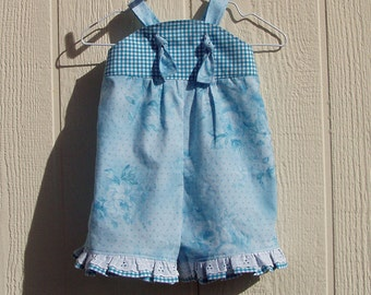 Shades of Turquoise Knot Strap Baby Romper Size 6 Month