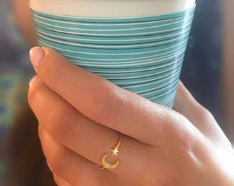 Moon & Star ring-Star Ring-Moon Ring-CZ Gold Ring-Dainty Gold Stacking Ring-Gold Sterling  Ring-Moon Star Band moon ring Delicate ring
