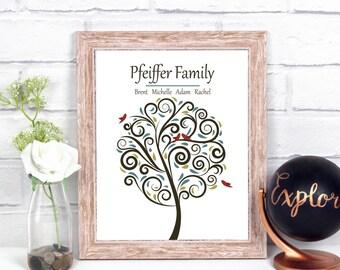 Family Tree Print, Ten Year Anniversary Gift For Husband, 10th Anniversary Gift For Her, 10 Year Anniversary Gifts For Men,Paper Anniversary