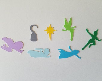 Peter Pan Confetti - Set of 140 - Handmade - Wendy, Hook, Tinker Bell, Michael, John, Second Star to the Right, Disney, Party Decor
