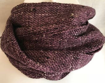 Handwoven Tweed Scarf | Aubergine Donegal Tweed Scarf | Soft And Luxurious Scarf | One Of A Kind | Gift For Her | Gift For Him | Hand Dyed