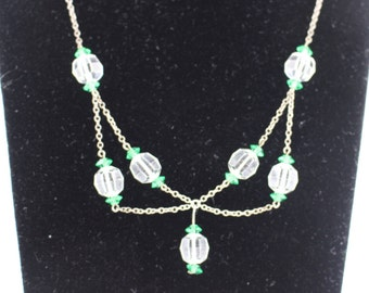 Antique Swag Necklace, Edwardian, Bridal Necklace, Faceted Crystal & Emerald Glass Beads, Downton Abbey Style,  Vintage Swag Necklace, UK