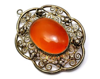 Vintage Chinese silver signed filigree floral carnelian pendant brooch