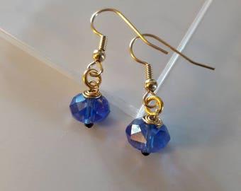 Deep blue & gold earrings