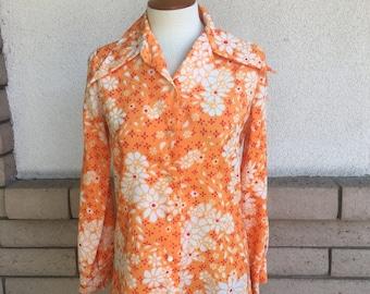 70s Disco Shirt Button Up Top Orange Floral Print Unisex Burning Man S-M