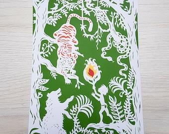 Postcard, Mini Art, Print Art, Papercutting, Papercut Art, Jungle Book, Children's story,