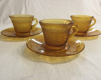 Vintage Tiara Sandwich Glass Cups & Saucers in Amber, 3 sets