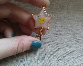 Pikachu sparkly colour changing star charm.