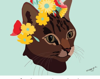 Custom Cat Portrait, Custom Pet Art, Pet Portrait, Personalized Cat Print, Pet Loss Gift, Cat Lover Gift, Pet Memorial, Custom Portrait