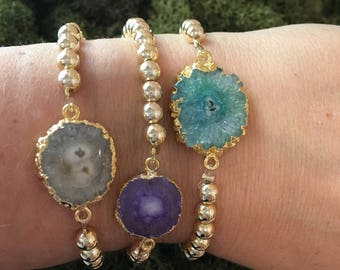 Stretchy druzy bracelets in white, purple layering bracelet, Inspirational jewelry,  gifts for her, Valentines day gift for women, boho chic