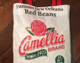 Camellia Red Bean Tote Bag - Unique New Orleans, Louisiana Item