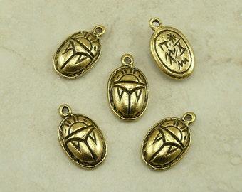 5 Egyptian Scarab Beetle Charms > Hieroglyphics Symbol Egypt - Raw American made Lead Free Pewter Gold Tone Finish - I ship internationally