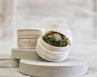 Rustic ring box set of 2 - bride and groom ring boxes - his and hers wedding ring box - wedding details - husband wife boxes