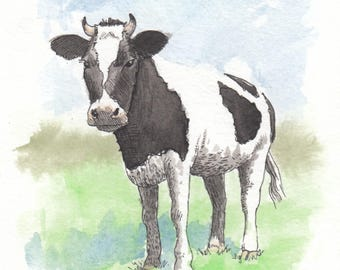 Cow - 5x7 ink and watercolor painting
