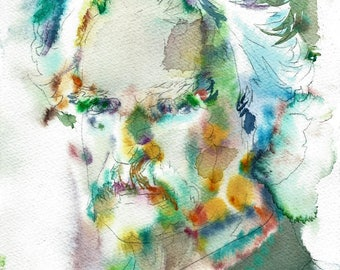 MARK TWAIN  - original watercolor portrait - one of a kind!