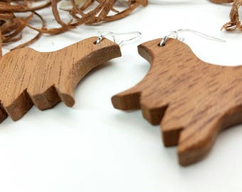 Unique Wood Earrings, Natural Earrings, Animal Earrings, Wooden Earrings, Meranti Earrings, Hand Cut Wood, Handmade Earrings, Drop Earrings