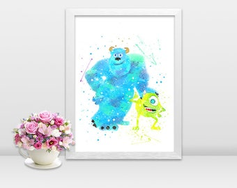 Mike Sulley Monsters Inc poster Mike sulley Print monsters inc art monsters inc wall decor printable watercolor monsters mike wall art gift