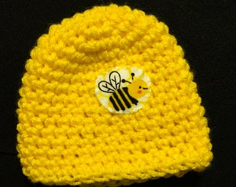 bee crocheted baby hat newborn hat yellow with bee hat hospital hat