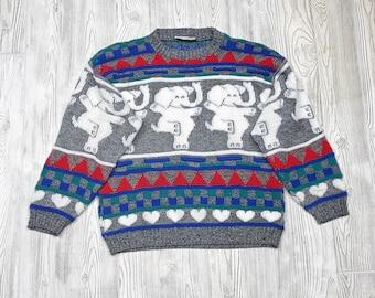 Rose Vintage Southwestern Style Acrylic Elephant Sweater