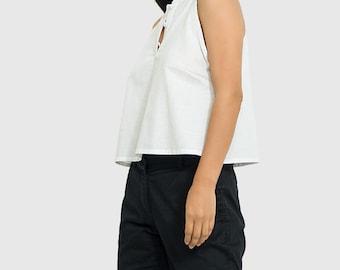 White linen blouse/ Tank linen blouse/ White linen top/ loose linen blouse/ linen top women/ nude back linen blouse