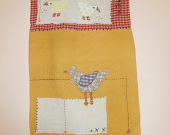 Rooster & Hen Kitchen Art Vintage Handmade Country Kitchen Decor Fabric Wall Hanging